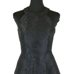 Calvin Klein sz 4 black floral fit and flare dress